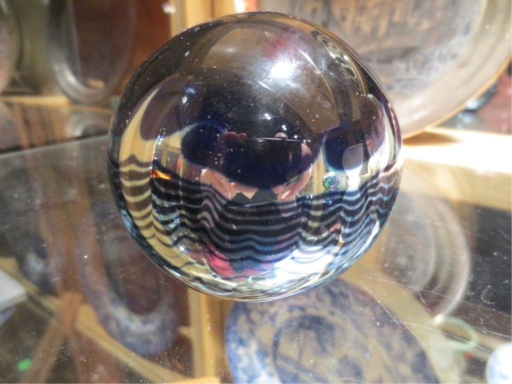"""173: CORREIA SIGNED ART GLASS """"MOON"""" PAPERWEIGHT, APPRO"""