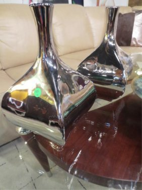"2: PAIR CHROME FINISH CONTEMPORARY VASES, APPROX 12"" H"