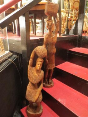 2 PC LOT CARVED WOOD STATUES, FEMALE FIGURES WITH BA