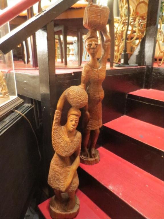 4: 2 PC LOT CARVED WOOD STATUES, FEMALE FIGURES WITH BA