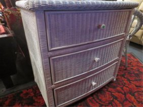17: WHITE WICKER 3 DRAWER CHEST, APPROX 4'L