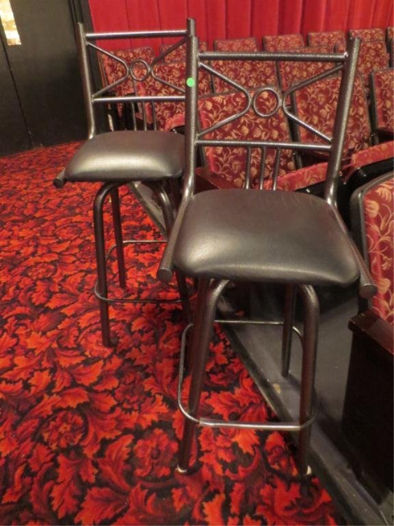 18: PAIR BARSTOOLS, BLACK FINISH METAL BASE, VINYL SEAT