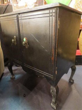 23: VINTAGE 2 DOOR CABINET, BLACK FINISH, APPROX 3'L