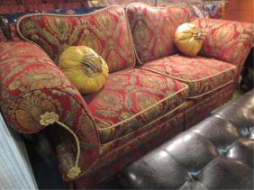 24: OPULENT RATCHET BACK STYLE SOFA, BURGUNDY AND GOLD
