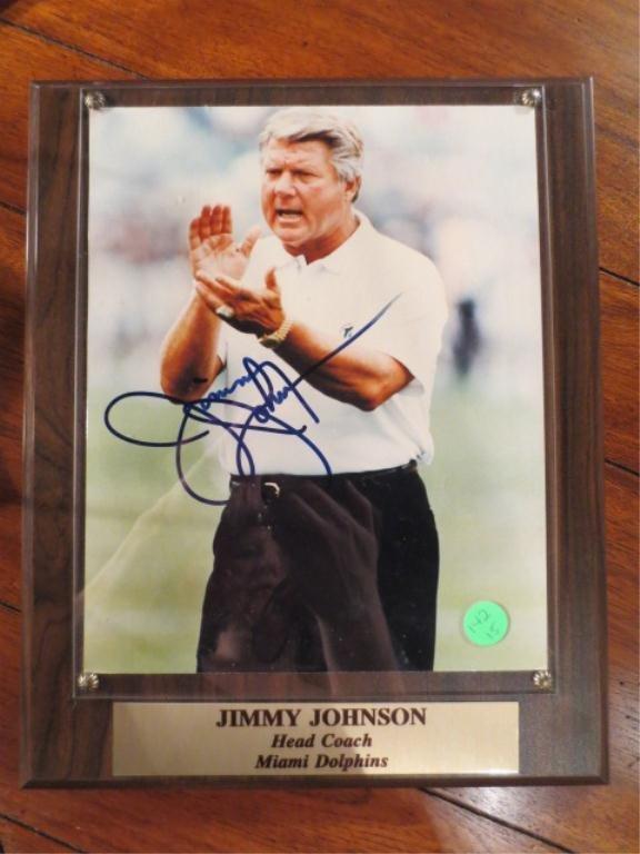 6: JIMMY JOHNSON, HEAD COACH, MIAMI DOLPHINS, SIGNED PH