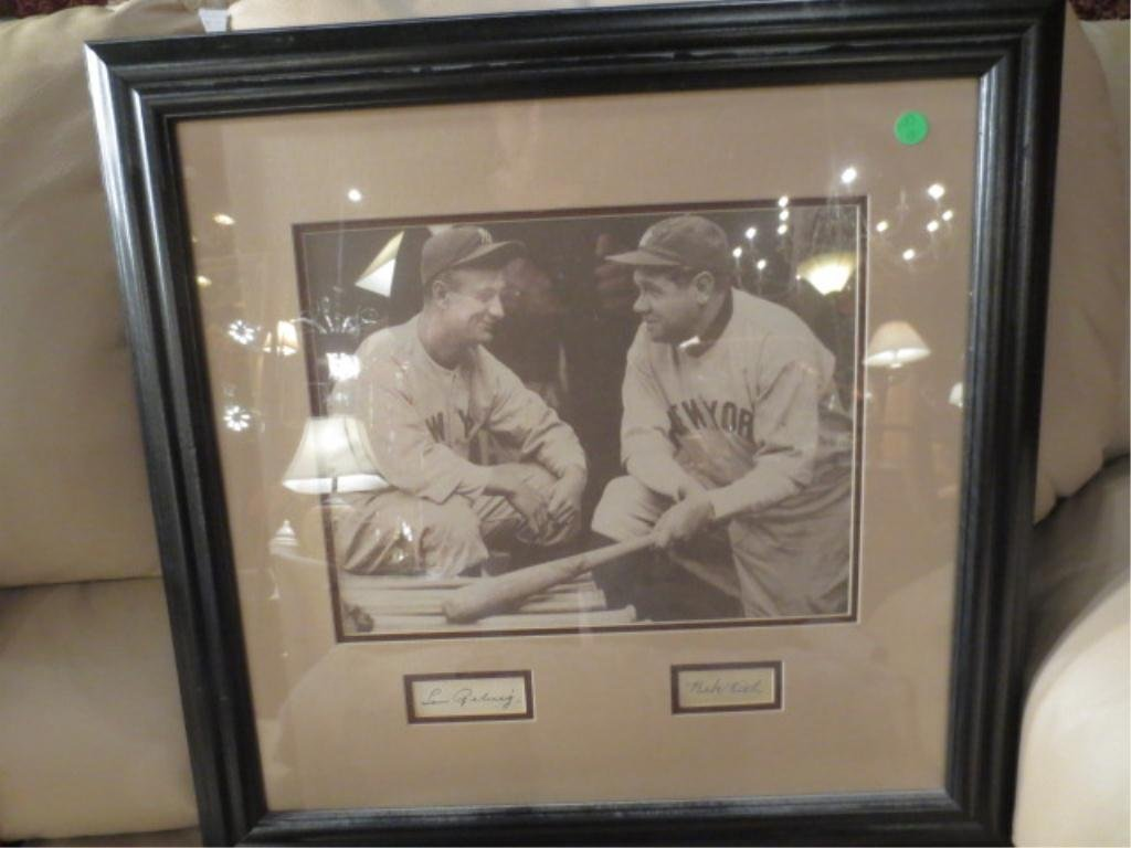 12: LOU GEHRIG & BABE RUTH AUTOGRAPHS WITH FRAMED PICTU