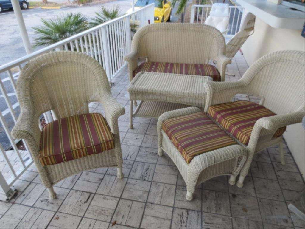 15: 5 PC WICKER STYLE PATIO SET, ALL WEATHER COMPOSITIO