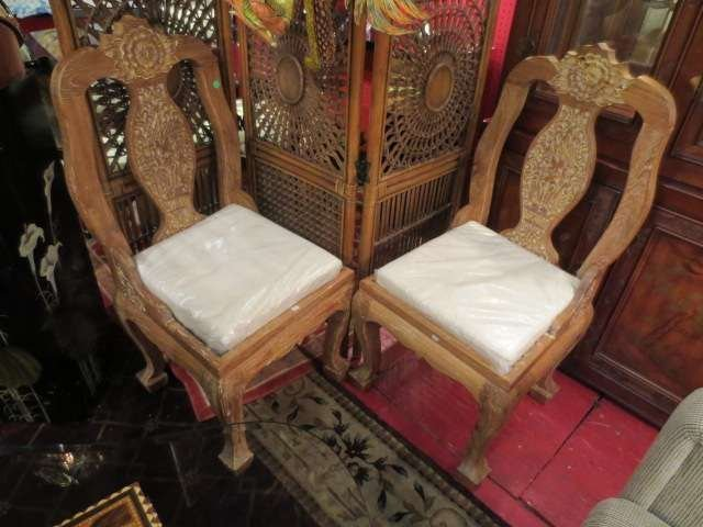 18: PAIR ASIAN CHAIRS, CARVED ELEPHANTS AND FLORAL DESI