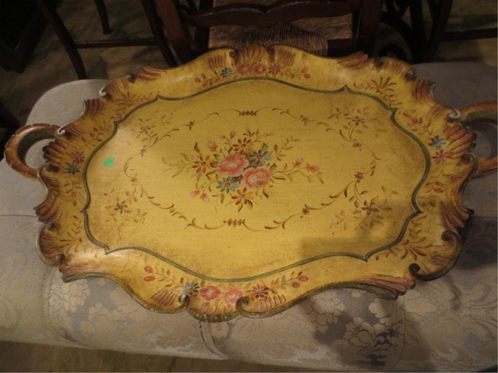 19: CARVED WOOD TRAY, IVORY WITH PAINTED FLORAL DESIGNS