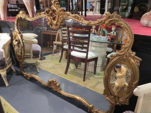 23: LARGE ROCOCO MIRROR, GOLD FINISH FRAME WITH OVAL FI