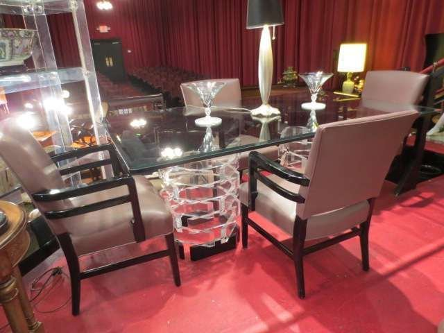 42: VINTAGE LUCITE DUAL PEDESTAL TABLE, STACKED CLEAR A