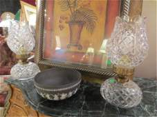 84: PAIR WATERFORD CRYSTAL LAMPS, HURRICANE STYLE SHADE