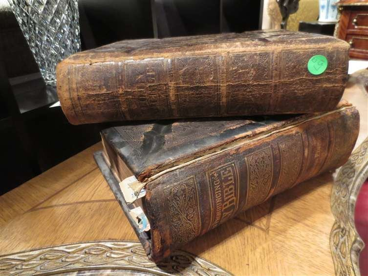 14: TWO ANTIQUE BIBLES, SOLD TOGETHER