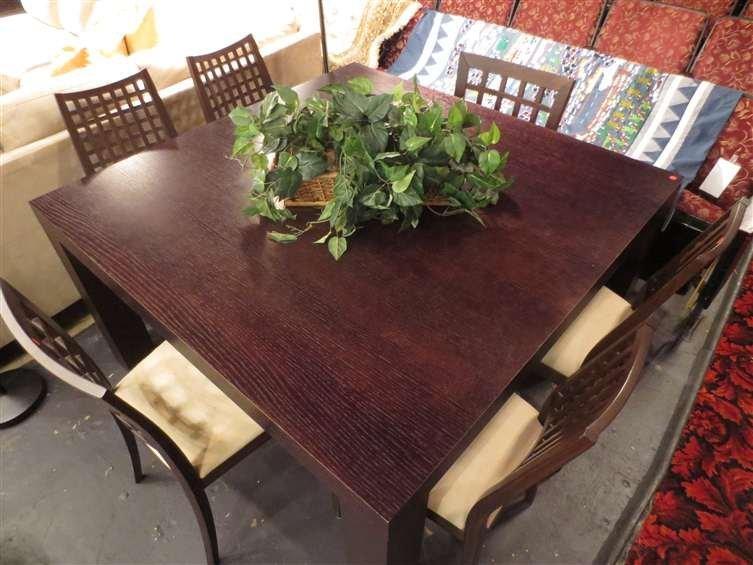 24: CONTEMPORARY SQUARE DINING TABLE, ESPRESSO FINISH,