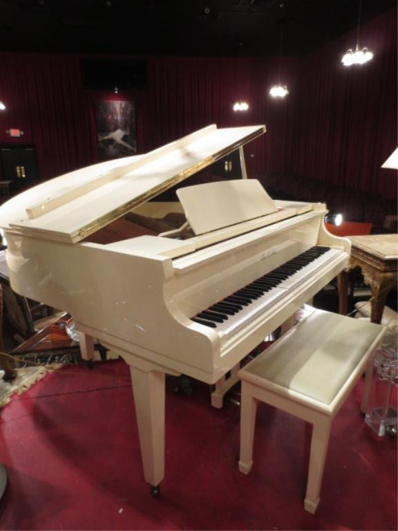 114: WHITE BABY GRAND PIANO BY CHARLES HALE, IN TUNE, I