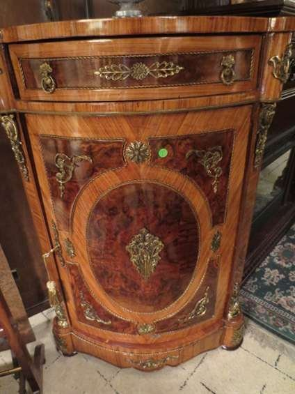 230: FRENCH EMPIRE STYLE CORNER CABINET, UPPER DRAWER A