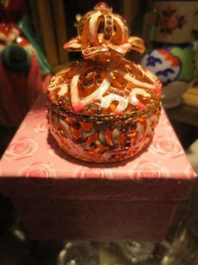 #1 OF TWO ORNATE OPENWORK BOX WITH PINK ENAMEL, APPROX