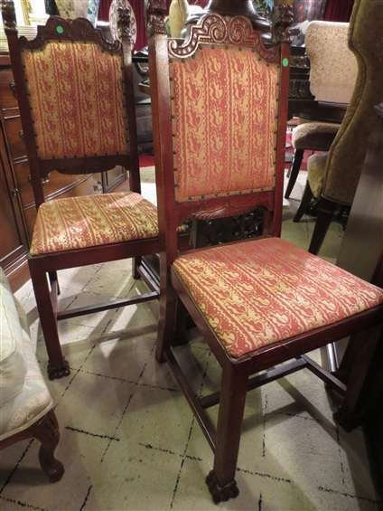 PAIR ANTIQUE CARVED WOOD CHAIRS, LION'S HEAD DETAIL ON