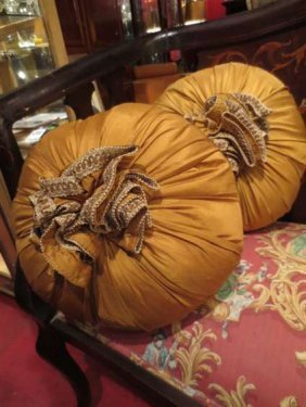 PAIR GOLD ACCENT PILLOWS, ROUND WITH GOLD FRINGE, EACH