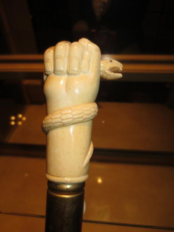 MARINE IVORY/BONE CANE/WALKING STICK, FIST WITH SNAKE