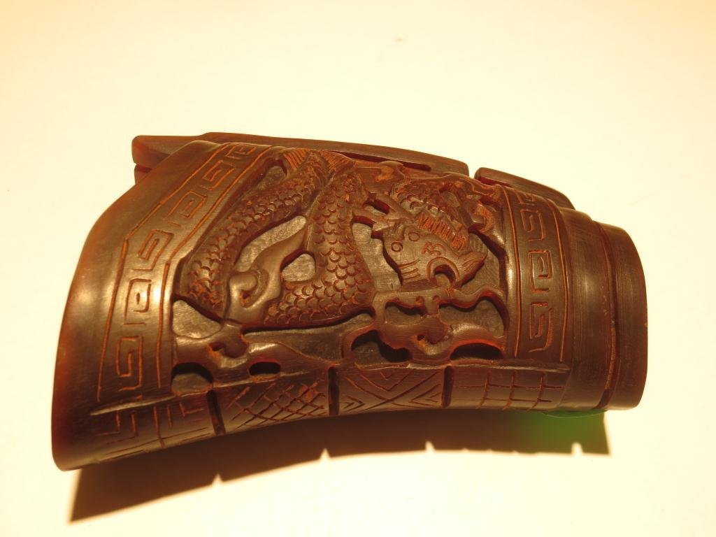 ANTIQUE CHINESE CARVED RHINOCEROS HORN CEREMONIAL CUP,