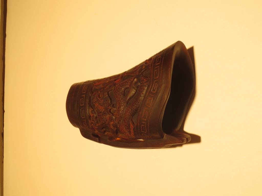 ANTIQUE CHINESE CARVED RHINOCEROS HORN CEREMONIAL CUP,  - 2