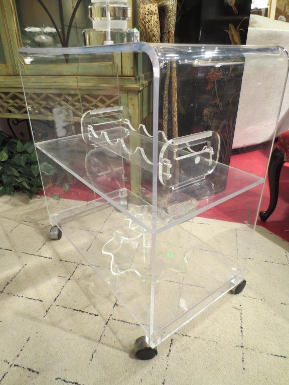 LUCITE BAR CART, ON CASTERS, LUCITE WINE RACK SOLD SEPA