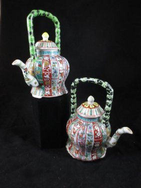 PAIR OF CHINESE PORCELAIN TEAPOTS, STRIPED FLORAL DESIG