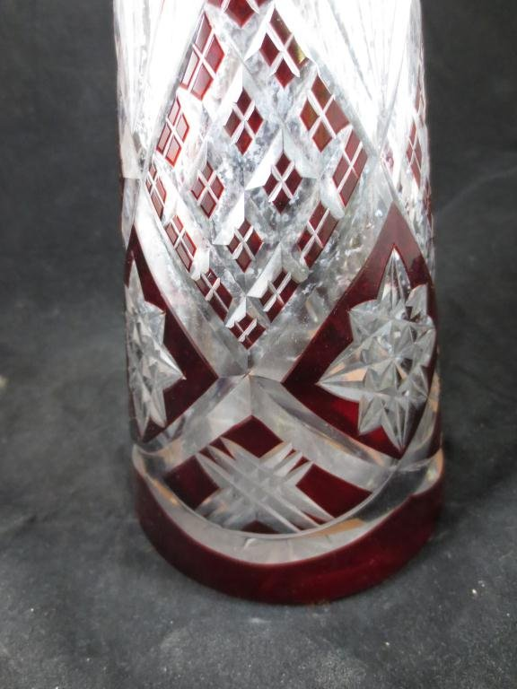 LARGE RUBY CUT TO CLEAR CRYSTAL DECANTER WITH STOPPER,  - 3