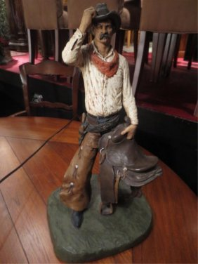 MICHAEL GORMAN FIGURAL SCULPTURE - COWBOY - INSCRIBED M