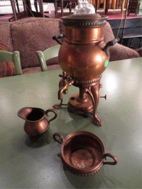 LANDERS, FRARY & CLARK COPPER SAMOVAR STYLE COFFEEPOT,