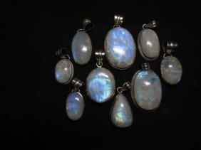 9 PC LOT ASST'D MOONSTONE PENDANTS, IN STERLING SILVER