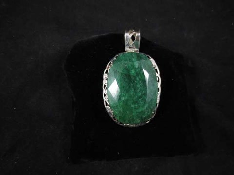 """FACETED JADE PENDANT, IN STERLING SILVER SETTING, 2.2"""""""