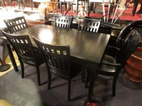 TRANSITIONAL DINING TABLE WITH LEAF AND SIX SLAT BACK C