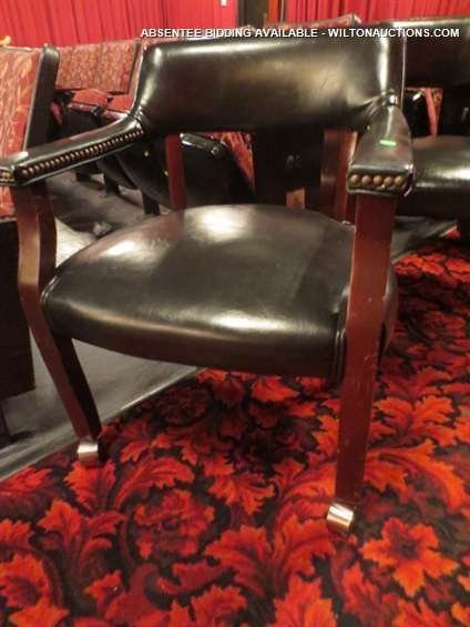 SET OF 4 GAME TABLE CHAIRS ON CASTERS, NAILHEAD TRIM, V - 2