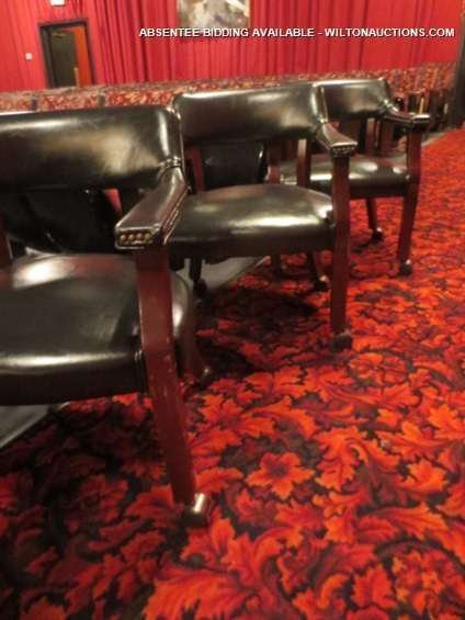 SET OF 4 GAME TABLE CHAIRS ON CASTERS, NAILHEAD TRIM, V - 3