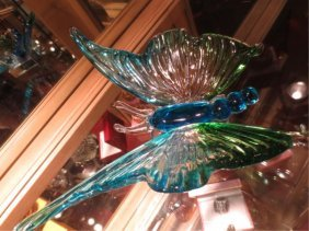 MURANO ART GLASS BUTTERFLY SCULPTURE, BLUE & GREEN, WIT
