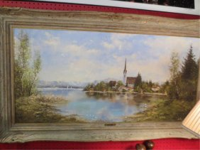HUGE VINTAGE OIL PAINTING ON CANVAS, HARBOR SCENE WITH