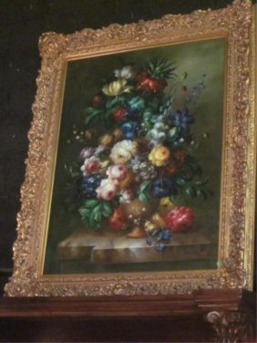 HUGE ORIGINAL OIL PAINTING, FLORAL STILL LIFE, SIGNED B