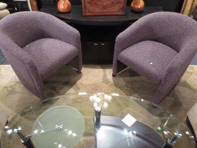 PAIR TUB CHAIRS ON CASTERS, VERY GOOD CONDITION