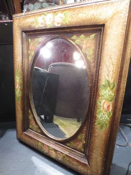 """MIRROR WITH PAINTED FLORAL FRAME, APPROX 3.5""""H"""