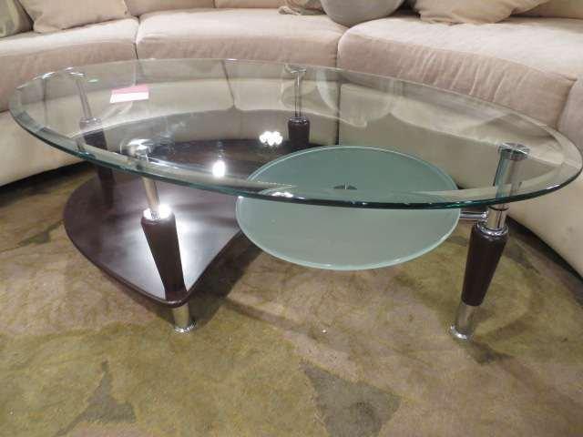 CONTEMPORARY COFFEE TABLE, OVAL GLASS TOP, ESPRESSO FIN