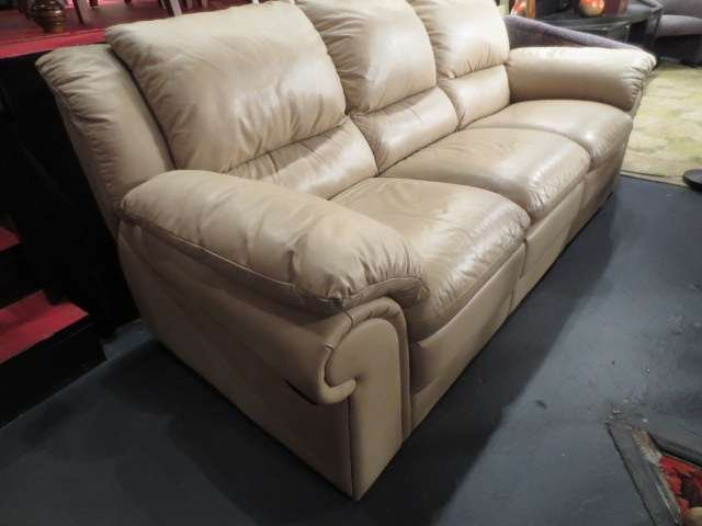 CONTEMPORARY LEATHER SOFA, DUAL RECLINERS, BEIGE LEATHE