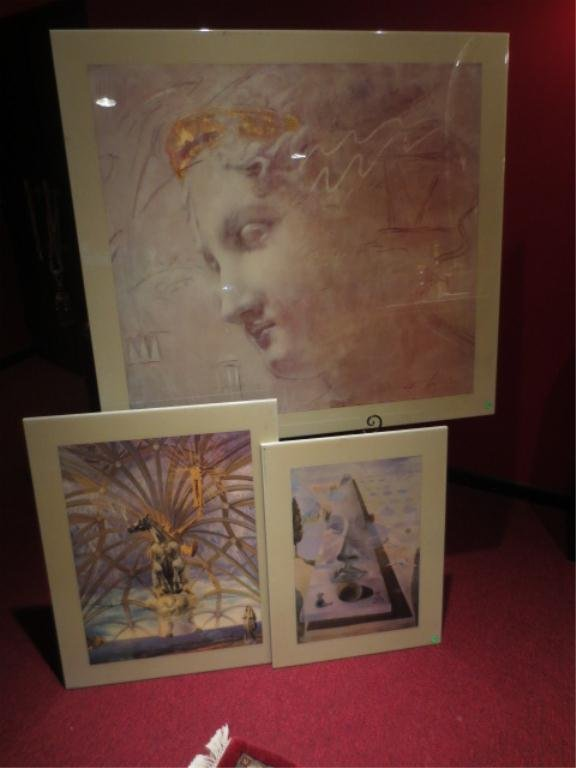 GROUP OF 3 LACQUERED PAINTINGS ON BOARD, SOLD TOGETHER,