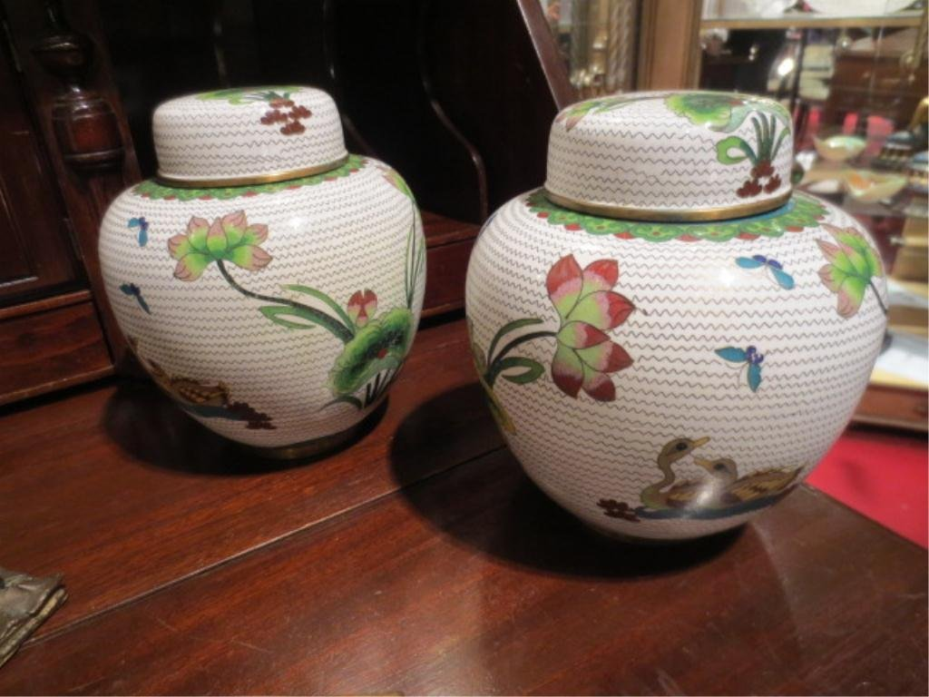 """PAIR OF WHITE CLOISONNE URNS WITH LIDS, APPROX 7.5""""H"""