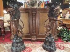 PAIR LARGE BRONZE PEDESTALS WITH RAMPANT LION FIGURES