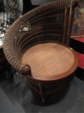 VINTAGE WICKER CHAIR, ASYMETTRICAL BACK, CANE SEAT, VER