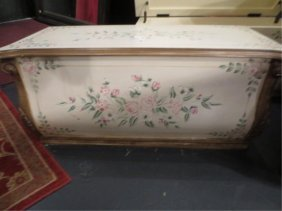 #1 OF TWO AVAILABLE BLANKET CHESTS, PAINTED FLORAL DESI