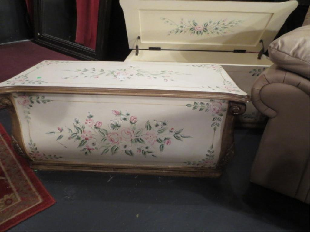 #2 OF TWO AVAILABLE BLANKET CHESTS, PAINTED FLORAL DESI