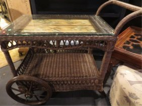 RATTAN BAR CART WITH PALM MOTIF TOP, APPROX 4'L